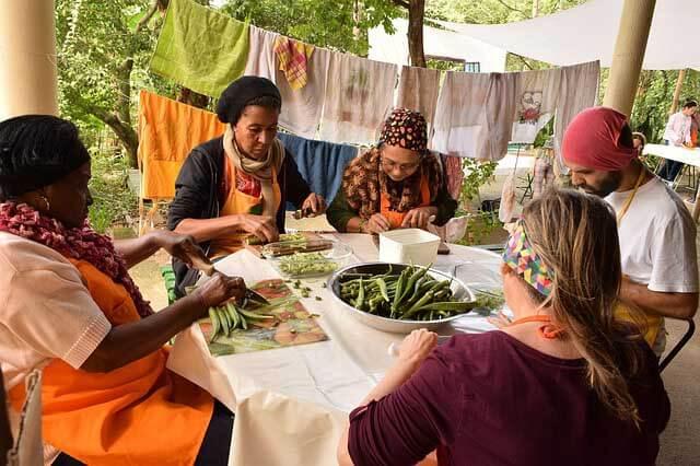 un groupe de personne qui se forme à la permaculture